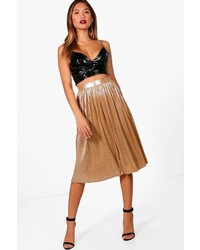 Elva metallic pleated midi skirt medium 6834210