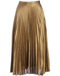 Gold pleated midi skirt medium 6834209