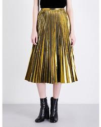 mo&co. Golden Pleated Metallic Midi Skirt