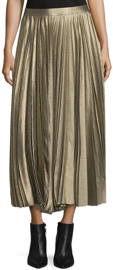 7674e5ee8 Derek Lam Metallic Accordion Pleated Midi Skirt Gold, $498 ...