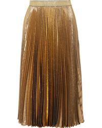 Pleated silk blend lam midi skirt gold medium 6834208