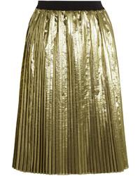 RED Valentino Redvalentino Pleated Lam Midi Skirt