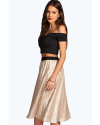 Topshop Sequin Pleated Midi Skirt | Where to buy & how to wear
