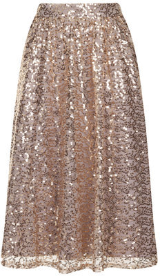 Little Mistress Gold Sequined Midi Skirt | Where to buy & how to wear