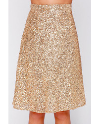 Stage Name Gold Sequin Midi Skirt | Where to buy & how to wear