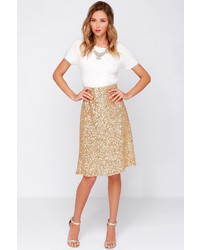 Stage Name Gold Sequin Midi Skirt