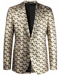 Versace Greca Pattern Single Breasted Blazer