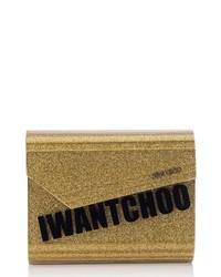Jimmy Choo Candy I Want Choo Glitter Clutch