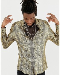 Gold Print Long Sleeve Shirt
