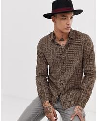ASOS DESIGN Regular Fit Shirt In Geometric Black And Gold Print