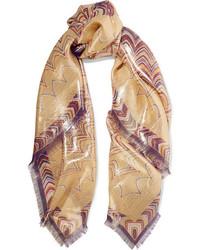 Missoni Printed Silk Blend Scarf Gold