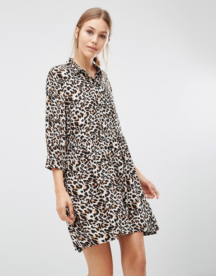 733cd44552a8 Minimum 34 Sleeve Shift Dress In Leopard Print, $51 | Asos ...