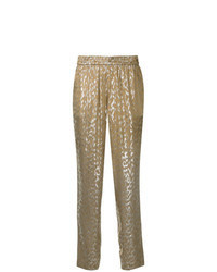 Gold Print Tapered Pants