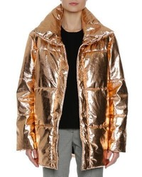 MSGM Metallic Quilted Puffer Coat Gold