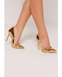 Missguided Gold Mirrored Pumps