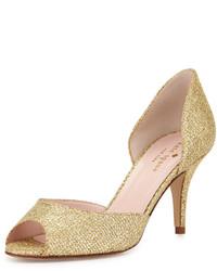 Kate Spade New York Sage Glitter Peep Toe Pump Gold