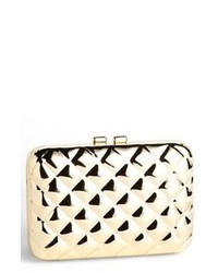 Gold Quilted Leather Clutch