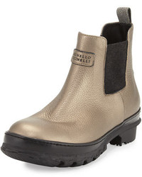 Brunello Cucinelli Metallic Leather Rain Boot Bronze