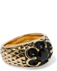 Saint Laurent Burnished Gold Plated Crystal Ring One Size