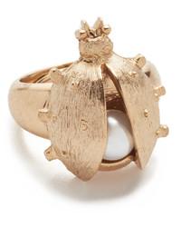 Oscar de la Renta Crystal Bug Imitation Pearl Ring