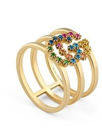 Gucci Double G Multi Stone Three Row Ring