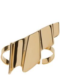 Saint Laurent Gold Babylone Two Finger Ring