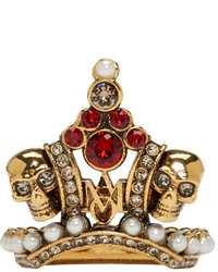 Alexander McQueen Gold Crown Skull Ring