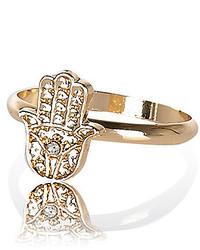 River Island Gold Tone Hamsa Hand Ring