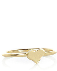 River Island Gold Tone Heart Midi Ring