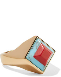 Fendi Gold Tone Resin Ring