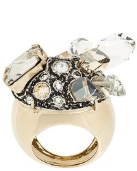 Lanvin Crystal Embellished Chunky Ring