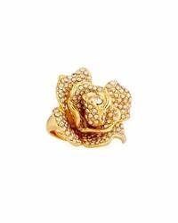Oscar de la Renta Pav Crystal Flower Ring