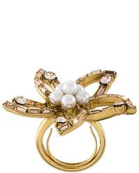 Oscar de la Renta Pearl Embellished Flowerl Ring