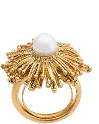 Oscar de la Renta Pearl Flower Ring