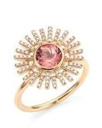 Astley Clarke Rising Sun Diamond Pink Tourmaline 14k Yellow Gold Ring