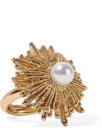 Oscar de la Renta Sun Star Gold Plated Faux Pearl Ring
