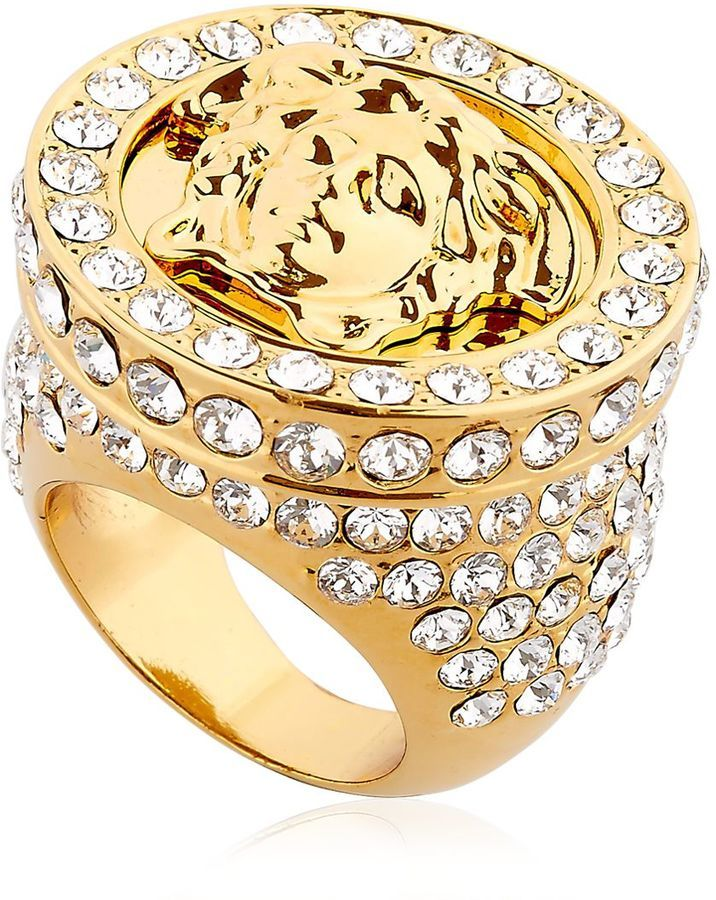 Versace Medusa Ring With Swarovski Crystals