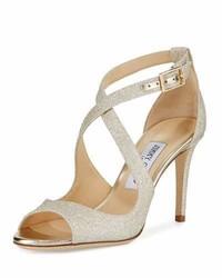 Jimmy Choo Emily Glitter Crisscross 85mm Sandal Gold