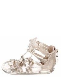 Stuart Weitzman Girls Metallic Gladiator Sandals