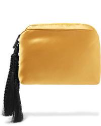 The Row Wristlet Tasseled Silk Satin Clutch Gold