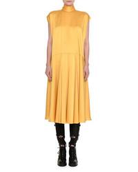 Valentino Satin Mock Neck Midi Dress