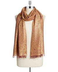 Lord & Taylor Metallic Paisley Print Fringed Scarf