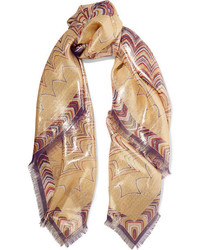 Printed silk blend scarf gold medium 1160136