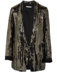 Alice olivia jace sequined satin blazer gold medium 6569722