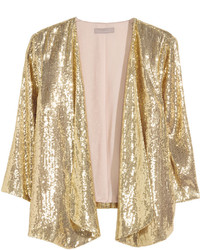 H&M Glittery Sequined Jacket Gold Colored Ladies