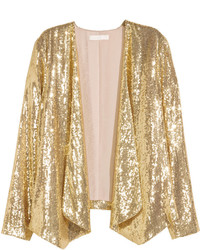 H&M Sequined Jacket Gold Colored Ladies