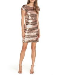 Eliza J Cap Sleeve Sequin Stripe Dress