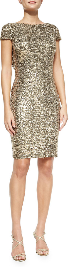 Badgley Mischka Cowl Back Sequined Cocktail Dress