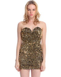 Romwe Gold Sequined Bandeau Dress