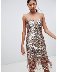 TFNC Sequin Bandeau Midi Dress With Fringe Hem In Gold